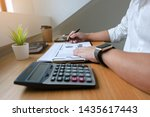 businessman working with income ... | Shutterstock . vector #1435617443