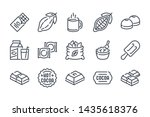 chocolate related line icon set....