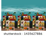 sky blue and tropical pattern... | Shutterstock . vector #1435627886