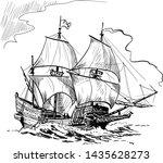 sailing ship vintage frigate on ...   Shutterstock .eps vector #1435628273