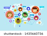 cute social network flat design ... | Shutterstock .eps vector #1435660736