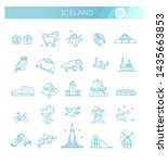 iceland icons. tourism and... | Shutterstock .eps vector #1435663853