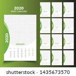 12 month wall calendar 2020... | Shutterstock .eps vector #1435673570