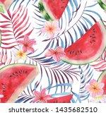 hand drawn watercolor seamless... | Shutterstock . vector #1435682510