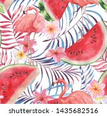 hand drawn watercolor seamless... | Shutterstock . vector #1435682516