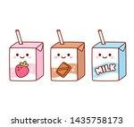 cute cartoon milk box... | Shutterstock .eps vector #1435758173