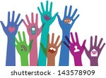 hands with communication icons. | Shutterstock . vector #143578909