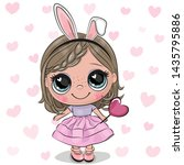 cute cartoon girl with rabbit... | Shutterstock .eps vector #1435795886