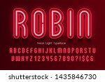 neon light 3d alphabet  extra... | Shutterstock .eps vector #1435846730