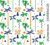seamless tropical pattern with... | Shutterstock .eps vector #1435856120