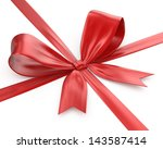 shiny red ribbon on white... | Shutterstock . vector #143587414