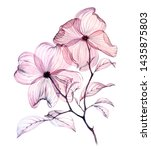 Watercolor Blooming Branch. Two ...