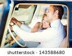 groom drive retro car. wedding. | Shutterstock . vector #143588680