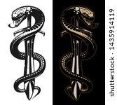 snake and sword tattoo... | Shutterstock .eps vector #1435914119