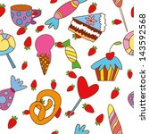 seamless pattern with candies... | Shutterstock .eps vector #143592568
