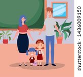 teacher couple with little... | Shutterstock .eps vector #1436009150