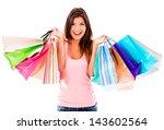 female shopaholic holding a