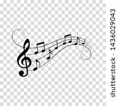 music notes and symbols ... | Shutterstock .eps vector #1436029043