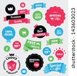 set of vector stickers and... | Shutterstock .eps vector #143603023
