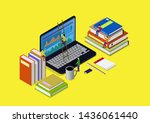 online education concept with... | Shutterstock .eps vector #1436061440