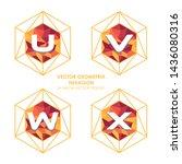 alphabetical hexagon vector  ... | Shutterstock .eps vector #1436080316