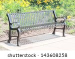 Empty Black Metal Bench