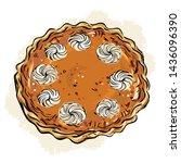hand drawn pumpkin pie with...   Shutterstock .eps vector #1436096390