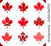 maple leaf icon in red for...   Shutterstock .eps vector #1436106053