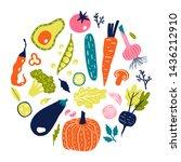 healthy food. vegetables round... | Shutterstock .eps vector #1436212910