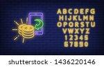 smartphone and golden coins...   Shutterstock .eps vector #1436220146