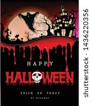 happy halloween background with ... | Shutterstock .eps vector #1436220356