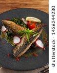 mouthwatering roasted mackerel...   Shutterstock . vector #1436244230