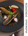 mouthwatering roasted mackerel...   Shutterstock . vector #1436244236