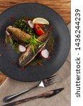 mouthwatering roasted mackerel...   Shutterstock . vector #1436244239