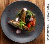 fried mackerel fish with...   Shutterstock . vector #1436244269