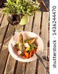 fried mackerel fish with...   Shutterstock . vector #1436244470