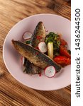 fried mackerel fish with...   Shutterstock . vector #1436244500