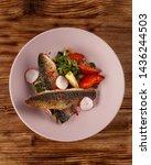 fried mackerel fish with...   Shutterstock . vector #1436244503