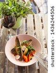 fried mackerel fish with...   Shutterstock . vector #1436244506