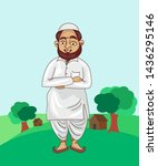 indian muslim man cartoon... | Shutterstock .eps vector #1436295146