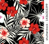 red white hibiscus flowers on a ... | Shutterstock . vector #1436303399