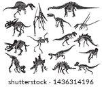 graphical set of dinosaur... | Shutterstock .eps vector #1436314196