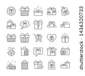 gift line icons. present box ... | Shutterstock .eps vector #1436320733