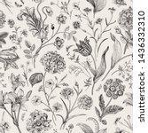 seamless vector vintage floral... | Shutterstock .eps vector #1436332310