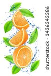 Cutted Oranges With Leaves In...