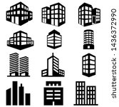 building icon vector set.... | Shutterstock .eps vector #1436372990