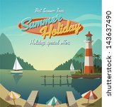 beach,cartoon,coast,cruise,house,illustration,island,light,lighthouse,marine,navigation,ocean,palm,parasol,sand