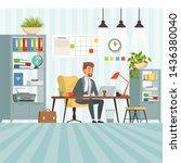 workspace of busy businessman.... | Shutterstock . vector #1436380040