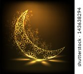 shiny floral decorative moon on ... | Shutterstock .eps vector #143638294