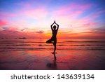 silhouette woman yoga practice... | Shutterstock . vector #143639134
